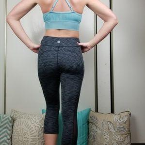 Avia Pants - Charcoal Grey Mesh Panel Crop Athletic Leggings